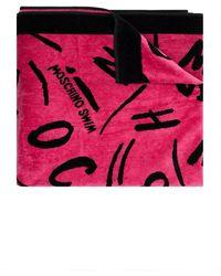 Moschino Bath Towel With Logo - Pink