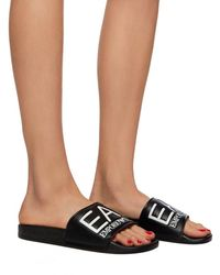 EA7 Slippers With An Embossed Logo - Black