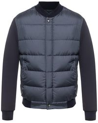 Ferragamo Quilted Bomber With Jersey Sleeves - Blue