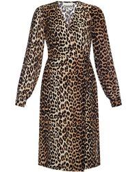 Ganni Patterned Dress Brown