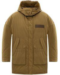 Yves Salomon Reversible Down Coat Green