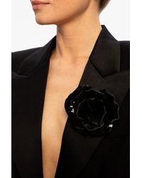Saint Laurent Embellished Brooch Black