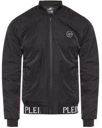 Philipp Plein Branded Bomber Jacket - Black