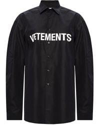 Vetements Oversize Shirt With Logo Black