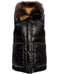 Yves Salomon Quilted Down Vest With Hood Black