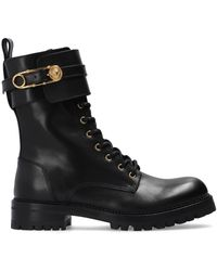 Versace Boots With Decorative Buckles - Black