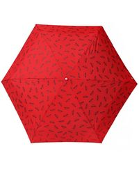 Moschino Folded Umbrella With A Print Unisex Red