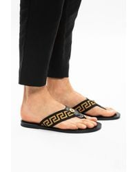 Versace Greca Pattern Flip Flops - Black