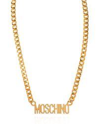 Moschino Necklace With Logo - Metallic