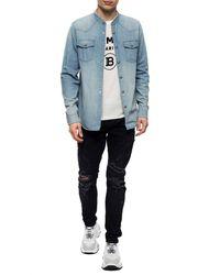 Balmain Denim Shirt With Standing Collar Blue