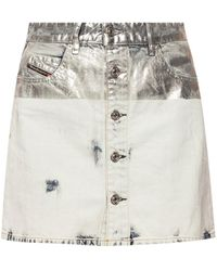 DIESEL - Coated Texture Denim Skirt - Lyst