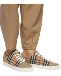 Burberry Albridge Vintage Check & Leather Trainer - Natural