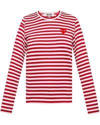 COMME DES GARÇONS PLAY Striped Top Red