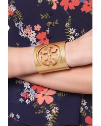 Tory Burch Miller Small Logo Cuff - Metallic