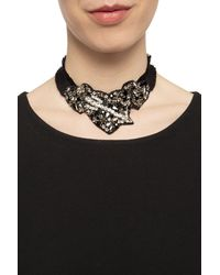 RED Valentino Grosgrain Necklace With Stones Black