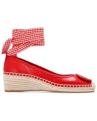 Tory Burch Minnie Ballet Espadrilles Wedges, Leather - Red