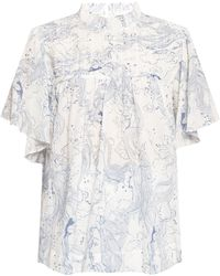 See By Chloé Top With Floral Motif - Blue