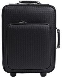 Bottega Veneta - Leather Travel Bag On Wheels - Lyst