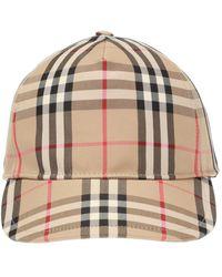 Burberry Vintage Check Cotton Baseball Cap - Natural