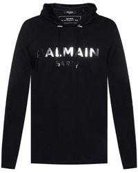 Balmain Logo-appliquéd Hoodie - Black