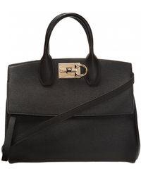 Ferragamo Studio Leather Shoulder Bag - Black