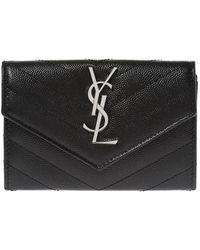 Saint Laurent 'monogram' Quilted Wallet - Black