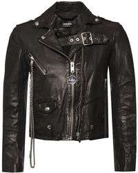 DIESEL - Chain-embellished Leather Jacket - Lyst
