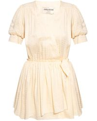 Zadig & Voltaire 'betty' Short-sleeved Dress Cream - Natural