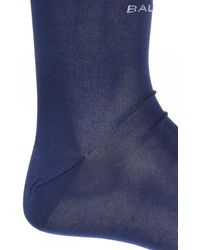 Balenciaga Logo-embroidered Socks Navy Blue
