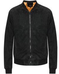John Varvatos Suede Bomber Jacket - Black