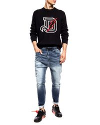 DIESEL Logo Embroidered Knitted Pullover - Black