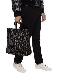 Ferragamo Patterned Shopper Handbag - Black