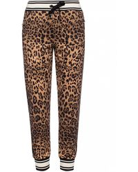 Dolce & Gabbana Leopard Print Track Trousers - Brown