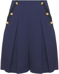 Lanvin - Pleated Shorts With Buttons - Lyst