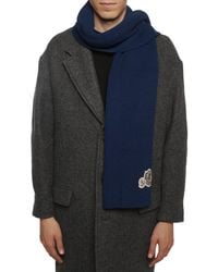 Moncler Logo-patched Scarf Navy Blue