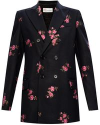 RED Valentino Floral-printed Blazer - Black