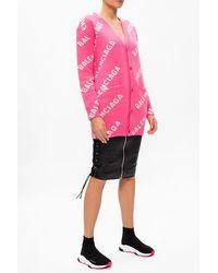Balenciaga Logo Oversize Cardigan - Pink