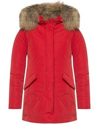 Woolrich Hooded Down Jacket Red
