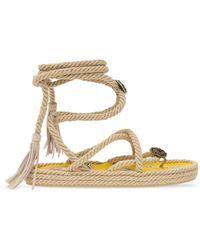 Etro Woven Platform Sandals Beige - Natural