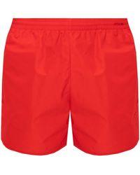Balenciaga Logo Swim Shorts Red