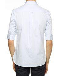 AllSaints 'redondo' Logo-embroidered Shirt Light Blue - White