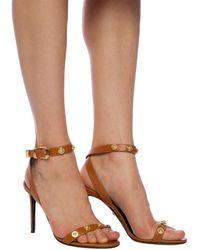 Versace Medusa Head Stiletto Sandals Brown