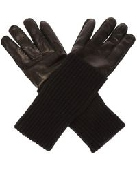 AMI Leather Gloves With Logo - Black