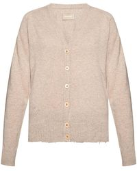 Zadig & Voltaire Cashmere Cardigan With Logo Beige - Natural