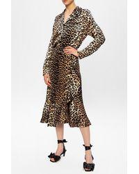 Ganni Leopard-printed Shirt Beige - Natural