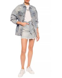 Givenchy Raw Edge Denim Skirt Light Blue