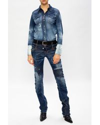 DSquared² Distressed Denim Shirt Blue