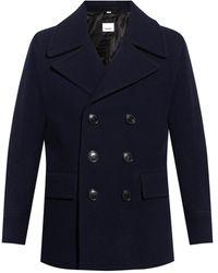 Burberry Wool Blend Pea Coat - Blue