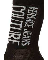 Versace Jeans Logo-embroidered Socks - Black
