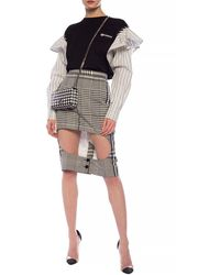 Burberry Checked Skirt - Gray